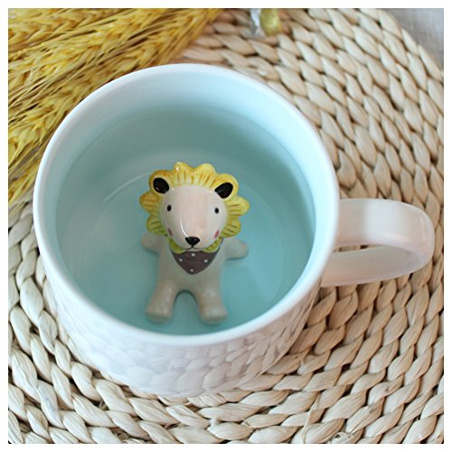 3D Cartoon Miniature Animal Coffee Cup Mug with Animal Inside - Office Cup & Christmas Gift