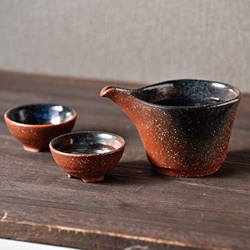 Yamakiikai Japanisches Mino Keramik-Sake Set schwarz und braun Tokkuri Karaffe 230 cc & 2 Ochoko Becher 40 cc Japan Import L1717 L1716