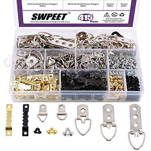 Swpeet 415Pcs Picture Hangers Kit with Screws, Heavy Duty Assorted Picture Hangers Assortment Kit for Picture Hanging Solutions with Transparent Box - 7 Models