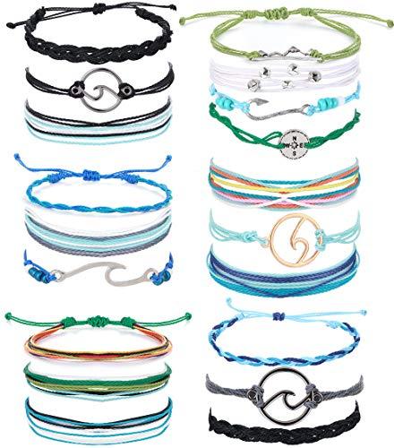 LOLIAS 6 Pack Wave Strand Bracelet Set Handmade Waterproof Adjustable Coated Braided Rope Boho Summer Surfer Bracelet for Women,A