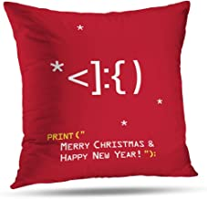 Darkchocl Art Pillowcase Throw Pillow Covers New Year Emoticon with Santa Claus Face Merry Christmas Square Cushion for Couch Sofa Bed Polyester 18 x 18 inch