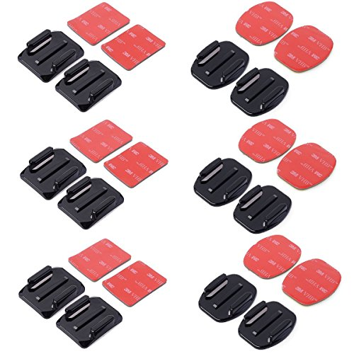 SMARTEX - Set 12 supporti adesivi 6 pezzi piatti e 6 curvi con adesivo 3M compatibile con accessori videocamera sportiva Gopro Hero 2 3 3+ 4, sjcam, sj4000, procam