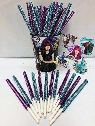 Disney Descendants Inspired Party Favor Bling Cake Pop Sticks - Purple & Teal Glam for Lollipops, Cake Pops & All Things Party! Plus Birthday Child Keepsake Cup & Descendants Sticker Favors!
