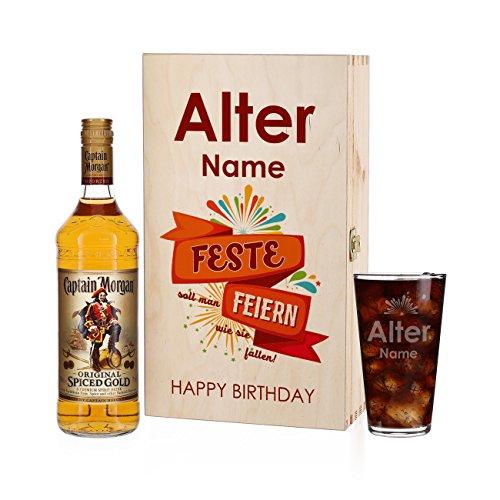 Herz & Heim® Captain Morgan Geschenkset zum Geburtstag mit Namensgravur auf dem Longdrinkglas