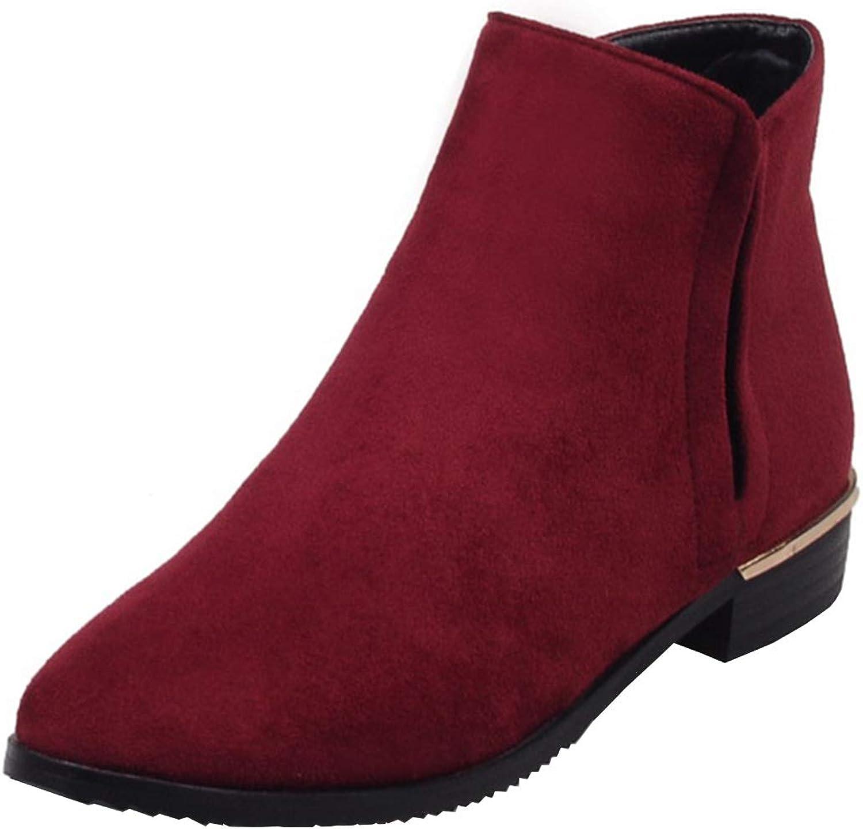 Vitalo Womens Flat Zip Up Ankle Boots Low Heel Autumn Winter Booties