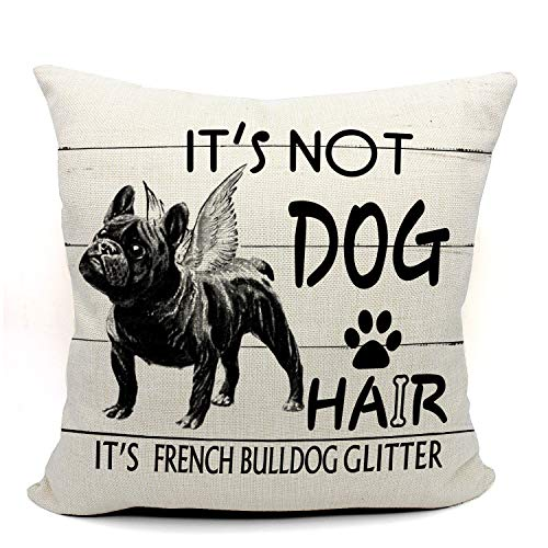 Mancheng-zi It's Not Dog Hair It's French Bulldog Glitter Throw Pillow Case, Dog Lover Gifts, French Bulldog Dog Lover Gifts, 18 x 18 Inch Linen Vintage Wood GrainCushion Cover for Sofa Couch Bed