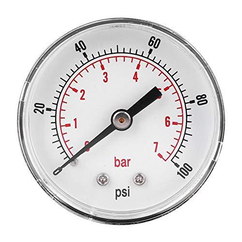 Manómetro de presión de aire, manómetro de presión Conexión trasera del manómetro, para aire, agua,(0-100psi 0-7bar)