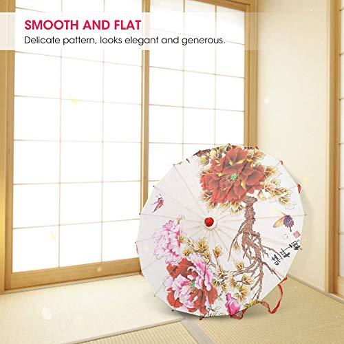 YOIM Parapluie en Papier huilé, Art Fait à la Main de Style Chinois Parasol Danse Accessoire Parapluie Exquis décoratif avec Ruban pour la Danse pour Le Drame(Red Ribbon, Blue)