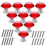 Akstore 10 Pcs Crystal Glass Cabinet Knobs 30mm Diamond Shape Drawer Kitchen Cabinets Dresser Cupboard Wardrobe Pulls Handles (Red)