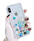 UnnFiko Liquid Glitter Case Compatible with iPhone XR, Hard Back Colorful Bling Quicksand with iOS icon Apple APP Shine Phone Case (Gold Glitter, iPhone XR)