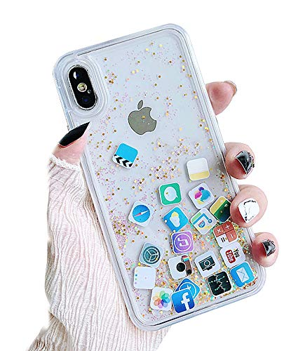 Skoveph Liquid Glitter Case Compatible with iPhone 6 Plus/ iPhone 6s Plus, Hard Back Colorful Bling Quicksand with ios icon Apple APP Shine Phone Case (iPhone 6 Plus / 6s Plus, Gold Glitter)