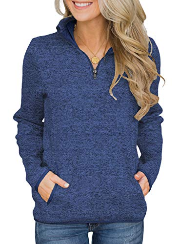 Arainlo Women's Autumn Winter 1/4 Zip Stand Collar Sweatshirt Pullover with Pockets Casual Long Sleeve Blouse Tunic Tops Blue S