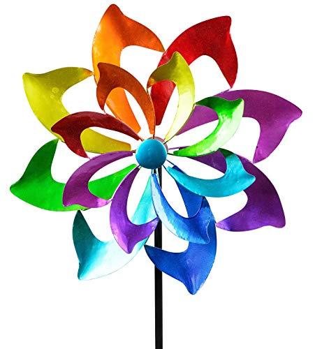 dekojohnson Windrad für den Garten aus Metall Blume Windräder Windspiel Windmühle doppelt lila/blau/rot/grün - 130cm Groß