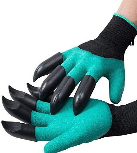 Claw Garden Glove Gardening Genie Gloves for Kids Women Men, 1 Pair Waterproof Thornproof Viridescent Clawed Glove Tool for Planting Digging Weeding Seeding