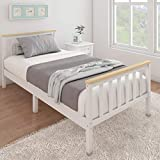 Panana Single Bed Solid Wood Bed Frame 3ft White Wooden For Adults, Kids, Teenagers (White Wood)
