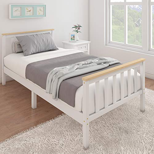 Panana Single Bed Solid Wood Bed Frame 3ft White Wooden For Adults, Kids, Teenagers (White+Wood)