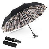 DORRISO Paraguas Plegables Automáticos Mujer Hombres Plegable Paraguas Portátil Viajar Paraguas Antiviento Impermeable Unisexo Paraguas Paraguas a cuadros