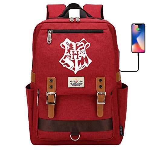 Hogwarts Bag Junior high School Student School Bag Personalized Canvas Rucksack Large red