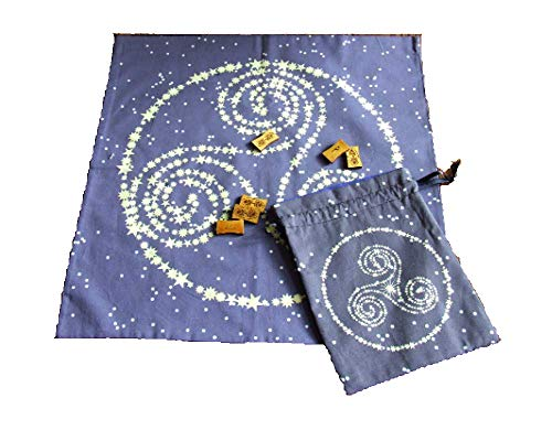 Tarot Set - Tarot or Altar Cloth with Matching Bag - Constellation Triskelion - Pagan or Wiccan Altar Cloth