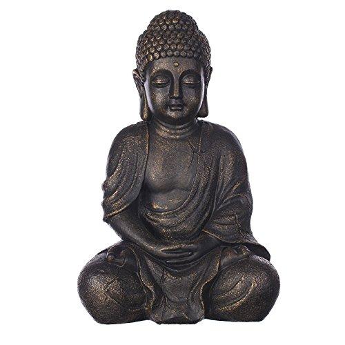 Buddha B4018S Bronze für Innen und Außen, Buddha Figur 37 cm hoch , Asiatische Statue groß, Büste, Gartendekoration, Wetterfest (nicht frostsicher) aus Kunststein (Polyresin) sehr aufwendig per Hand bemalt, sehr feine Strukturen