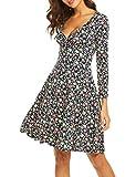 Beyove Damen Elegant Blumen Jerseykleid Wickelkleid Vintage Kleid V-Ausschnitt Langarm Skaterkleid Partykleider Knielang Blau XL