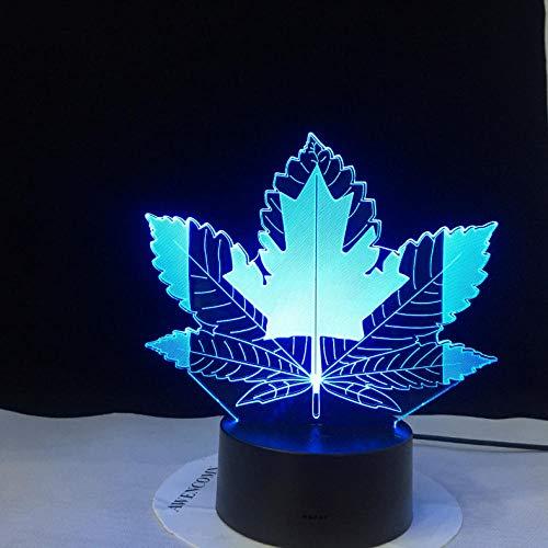 Djkaa Ahornblatt Kanada Schlafen NachtlichtTischlampe Licht Led 3D IllusionNachtlicht Kinderzimmer Dekor