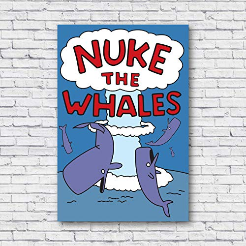 """VinMea Unframed Decorative Art Printing Poster Nuke The Whales, Wall Wall Art Paper Poster Printing Unframed Prints for Wall Decor 12"""" X 16"""""""
