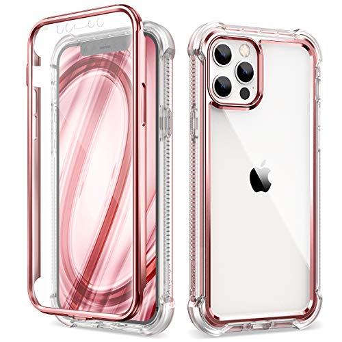 Dexnor Custodia compatibile con Iphone 12 Pro Max 6,7  ,Cover Copertura Protettiva Antiurto per Tutto il Corpo a 360 Gradi - Oro rosa