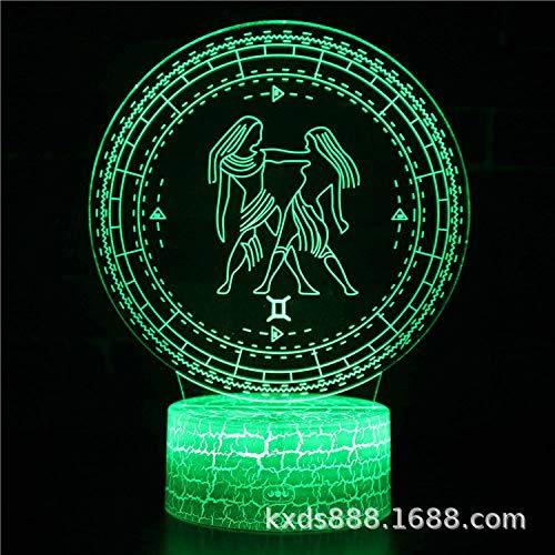 3D Nachtlicht,Kreative Zwölf Sternbilder Gemini Illusion Optische Lampe 7 Farbwechsel Nachttischlampe Mit Touch-Fernbedienung USB-Ladegerät Tischlampe Geschenk Für Kinder Kinderzimmer Dekoration