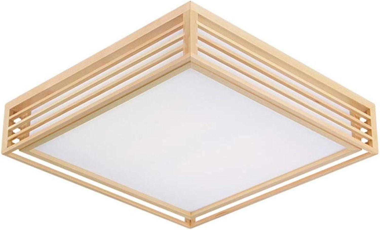 Quadratische Led Deckenleuchte, Nordic Log Einfach, Wohnzimmer Lampe Restaurant Gang Lampe Massivholz Schlafzimmer Deckenleuchte (gre   35  11CM-12W)