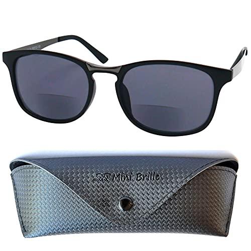 Gafas de Sol Bifocales de Tendencia Ovalados, Estuche GRATIS, Montura de Plástico (Negra) con Patillas de Acero Inoxidable, Gafas de Lectura Mujer y Hombree +2.0 Dioptrías