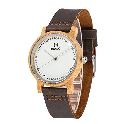 MUJUZE Damen Kleine Analog Quarz Bambus Holz Uhren mit Braun Leder Armband(Bamboo)