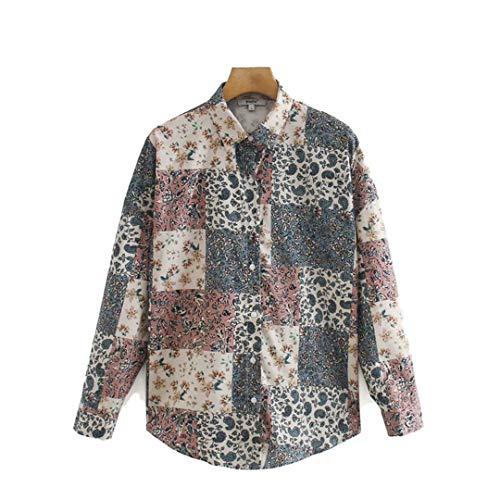 Blusas y Tops Estampados para Mujer Camisas de Manga Larga con Cuello Vuelto Mujer Suelta Vintage Patchwork...