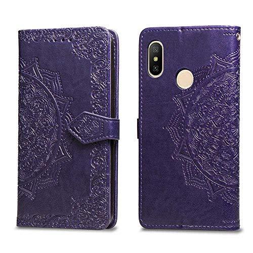Bear Village Hülle für Xiaomi Redmi 6 Pro/MI A2 Lite, PU Lederhülle Handyhülle für Xiaomi Redmi 6 Pro/MI A2 Lite, Brieftasche Kratzfestes Magnet Handytasche mit Kartenfach, Violett