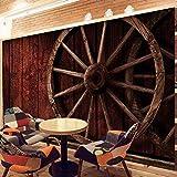 Equipo para el hogar Decoración de pared Patrón de neumático de madera vintage Arte de seda premium Impresión 5D Mural autoadhesivo en relieve Extraíble Ecológico No se decolora Póster fotográfico