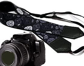 Sugar Skull Camera Strap. Modern DSLR/SLR Camera Strap. Black and Grey Skulls Camera Strap. Durable, Light Weight and Well Padded Camera Strap. Code 00165