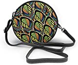 BAODANLA Bolso redondo mujer Colorful Pattern with Peacock Feathers Women Soft Leather Round Shoulder Bag Zipper Circle Purses Sling Bag