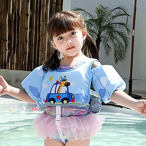 Hujjuu Chaleco flotador para niños y niñas, traje de baño flotante, chaqueta de entrenamiento para niños y niñas de 2 a 6 años