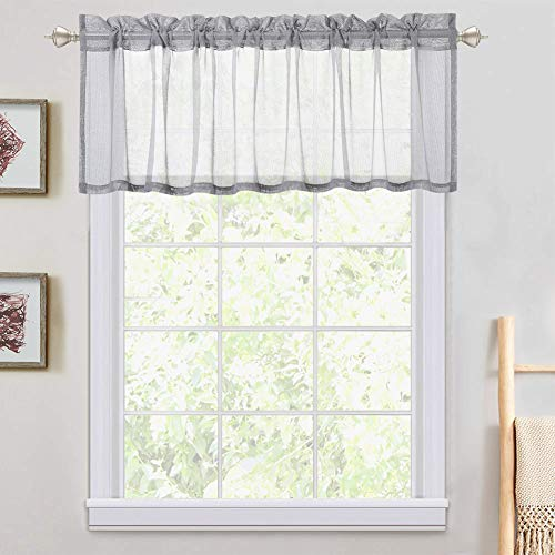 LinTimes Voile Sheer Valances Curtain Gray Small Window Semitransparent Sheer Panels for Bathroom Kitchen Cafe Living Room - 54' W x 15' L, One Panel, Gray