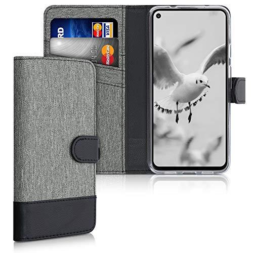 kwmobile Wallet Hülle kompatibel mit Google Pixel 4a 5G - Hülle Kunstleder mit Kartenfächern Stand in Grau Schwarz