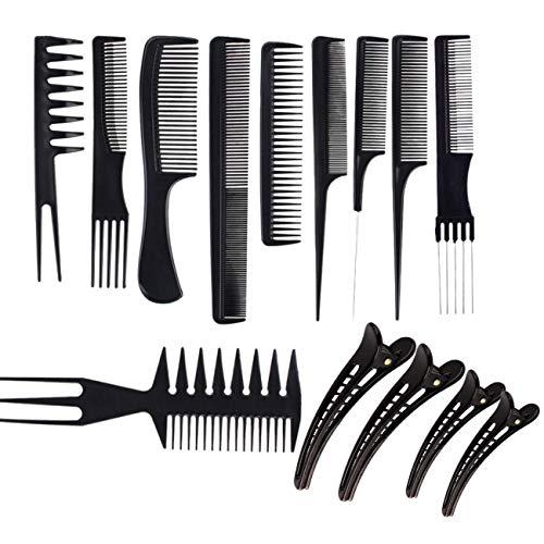 JZK 10 x Pettini antistatici diversi set pettini professionali per parrucchieri parrucchiera + 4 x fermagli per capelli, pettine professionale per capelli barbiere acconciature, nero