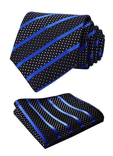 HISDERN Striped Wedding Party Krawatte Taschentuch Herren Krawatte & Einstecktuch Set