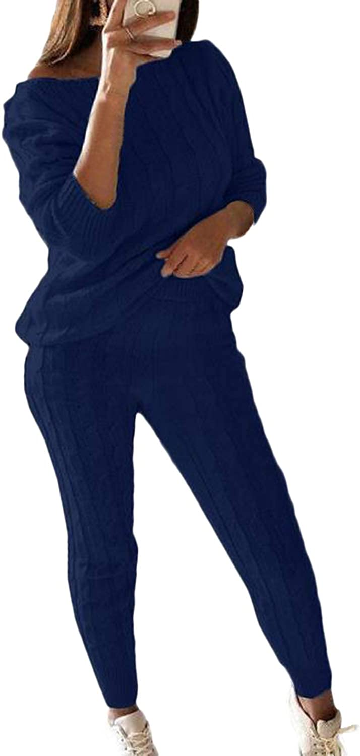 Women's Casual Solid 2 Piece Knitted Tracksuit Long Sleeve Sweater Pullover Jogger Sweatpants Active Lounge Sets Navy Blue 2XL