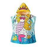 BabyLuv sudadera con capucha para toalla de playa - una -tamaño única para todos - 24 48 x - unisex - edades 2-9 - boy - girl - transpirable - secado rápido -100% microfibra - personaje (sirena)