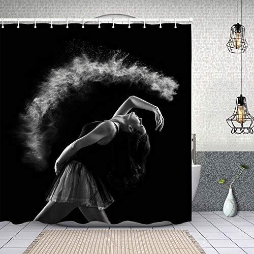 xiaolang Wasserdichter Duschvorhang,Ballerina,Drucken von Badvorhängen mit 12 Haken 150x180cm
