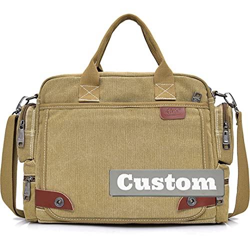 FireH Bandolera clásica con nombre personalizado para hombres de trabajo, bolsa cruzada de lona escolar para hombre (color Kaqise, tamaño: talla única)