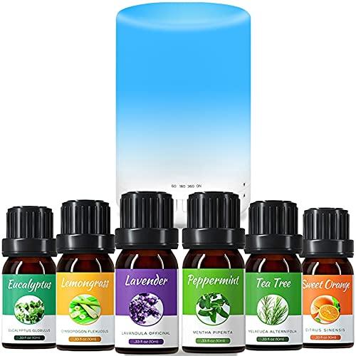 Difusor de aceite esencial de 300 ml, difusor de aroma, humidificador, con 6 botellas de aceite esencial de 10 ml (diferentes olores), lámpara LED de 7 colores, múltiples modos de empañamiento