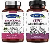 Ayursana - Traubenkernextrakt OPC (120 Kapseln) und BIO Acerola-Pulver (175g)   rein Vegan