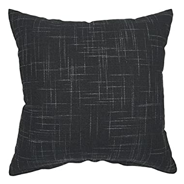 YOUR SMILE Solid Black Square Cotton Linen Decorative Throw Pillow Case Cushion Cover Pillowcase for Sofa 18 x 18 Inch