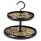 BOLITE 18039 Bird Feeder, Hanging Tray Bird Feeder for Outside Double-Layered Wild Bird Feeders, Black